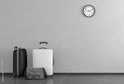 canvas print picture Schwarz und weißer Koffer
