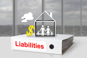 white office binder liabilities family home dollar symbol