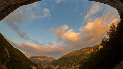 Domogled National Park sunset time lapse from cave 4K
