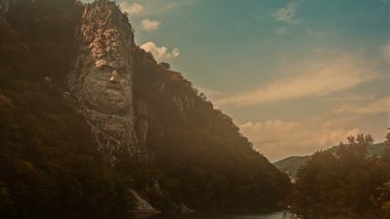 Decebal Rock face afternoon light