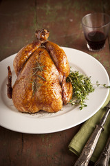 Grilled turkey on wooden plate for christmas and thanks giving