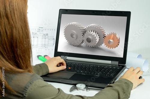 canvas print picture Laptop mit Person viele Zahnräder