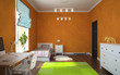 Part of interior modern childroom with orange walls 3D rendering
