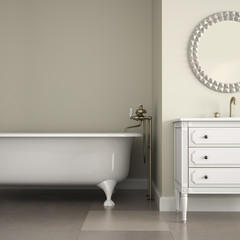 Interior of classic bathroom with round mirror and cabinet 3D re