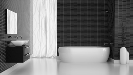Interior of modern bathroom with black tiles  wall