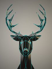 Black Deer head with a blue eges on gray background