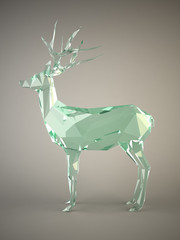 Glass deer concept on gray background