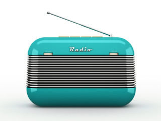 Old blue vintage retro style radio receiver isolated on white ba