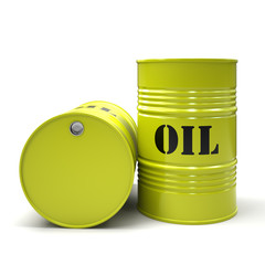 Yellow oil barrels isolated on white background