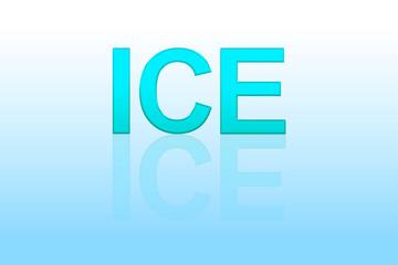 Texte ICE avec reflet