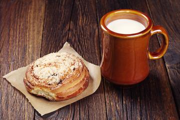 Milk with tasty bun