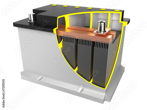 Leinwanddruck Bild car battery (assembly drawing)