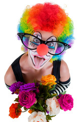 Girl in big red glasses and clown costume