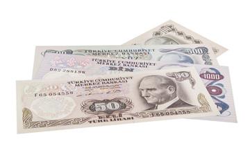 mixed liras banknotes old turkish lira around 1970s