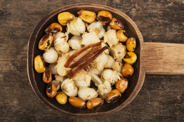 hominy and toasted corn nuts mote with tostado ecuadorian