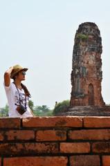 Thai women photography portrait at Ruins of Ayutthaya