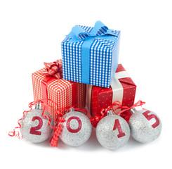 colorful gift boxes and christmas ball