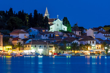 Croatian village Rogoznica by night