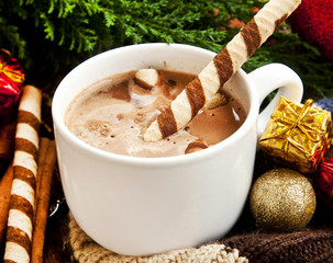 Hot Chocolate with Spiral Snack and Christmas Decoration