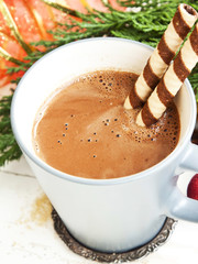 Hot Chocolate with Spiral Snack with Christmas Decoration