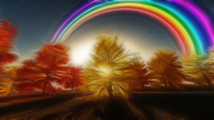 Painterly Autumnal Rainbow