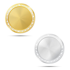 Abstract gold and silver coin with diamonds
