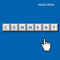 cursor hand click comment button.social media concept