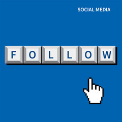 cursor hand click follow button.social media concept