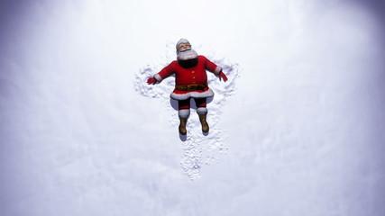 Santa Claus makes a Snow Angel