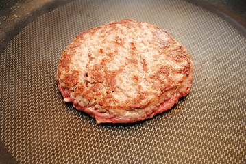 Frying a Lean Beef Burger in a Pan