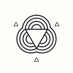 Geometric shape, triangle and circles, vector illustration