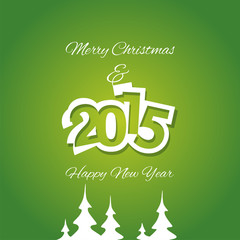Christmas and White Year 2015 green background vector