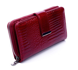 Women's maroon leather wallet on a white background