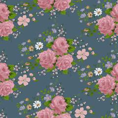 wallpaper vintage rose pattern on navy background