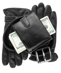 Mens wallet,money, belt and gloves