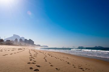 Empty Barra da Tijuca Beach in the Morning, Rio de Janeiro