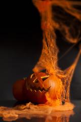 Halloween pumpkin head scary face with evil eye jack spooky and
