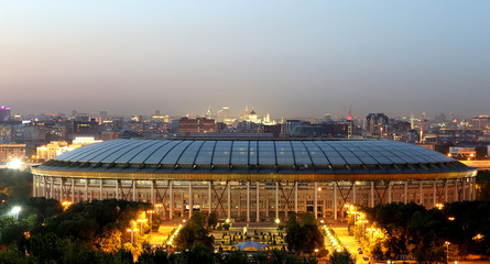 Luzhniki Stadium, night view, Moscow, Russia.