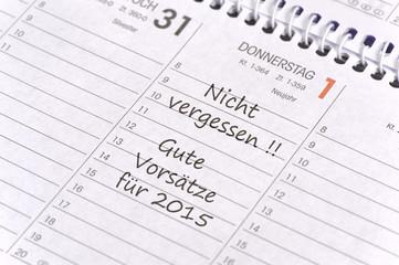 Gute Vorsätze für Neujahr 2015 im Kalender