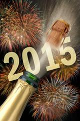 Neujahr 2015 mit Champagner und Feuerwerk