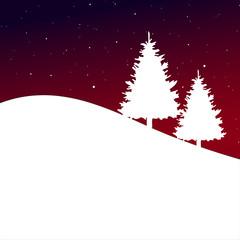 Weihnachtsbäume vor Rot