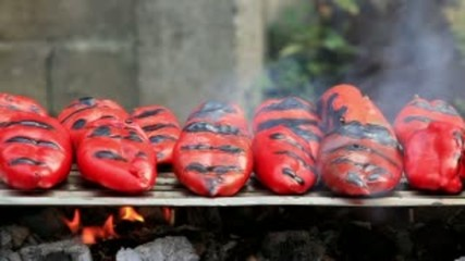 Red peppers on grill