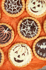 Tasty Halloween cookies, close up