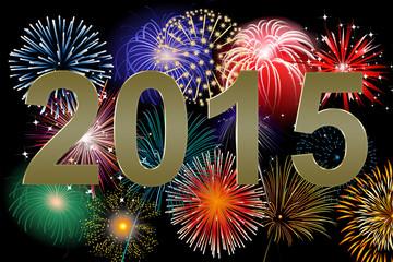 Jahreswechsel 2015 mit Raketen