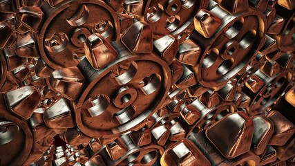 Abstract rotating gears in bronze color