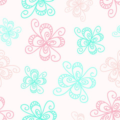 Calm floral seamless pattern in pastel colors