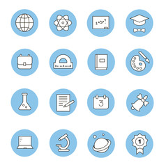 Education and learning flat thin line  icons set, modern vector