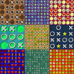 Set of Tic Tac Toe wooden board generated seamless textures
