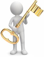 Männchen mit goldenem Schlüssel