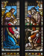 Weihnachten - Christi Geburt Glasfenster